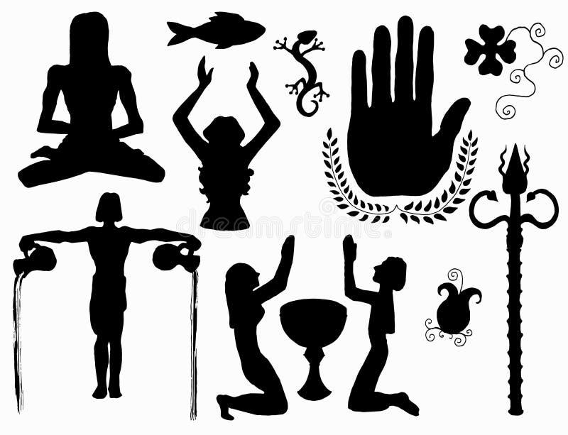La conception a placé avec des symboles de paix, d'amour et de foi illustration stock