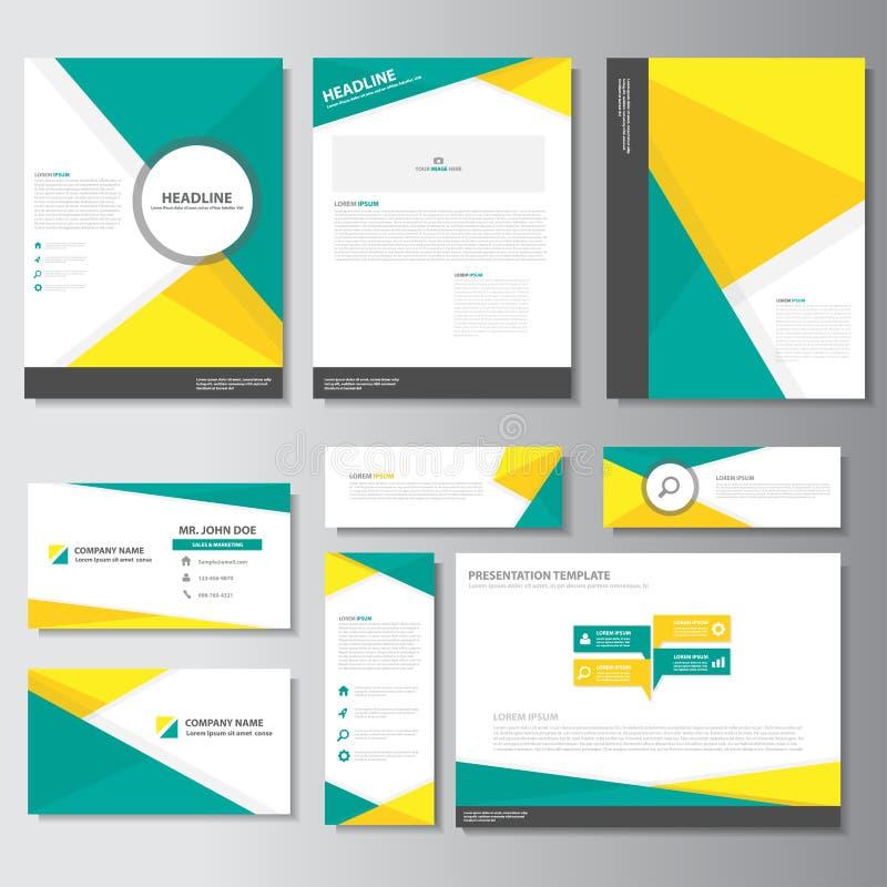 La conception plate d'affaires de brochure d'insecte de tract de présentation de carte de calibre d'éléments jaunes verts d'Infog illustration libre de droits
