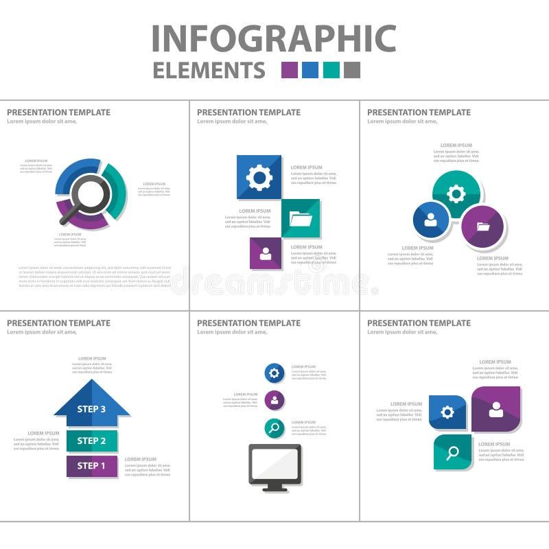 La conception plate d'Infographic d'éléments d'icône de calibre vert-bleu pourpre de présentation a placé pour faire de la public illustration stock