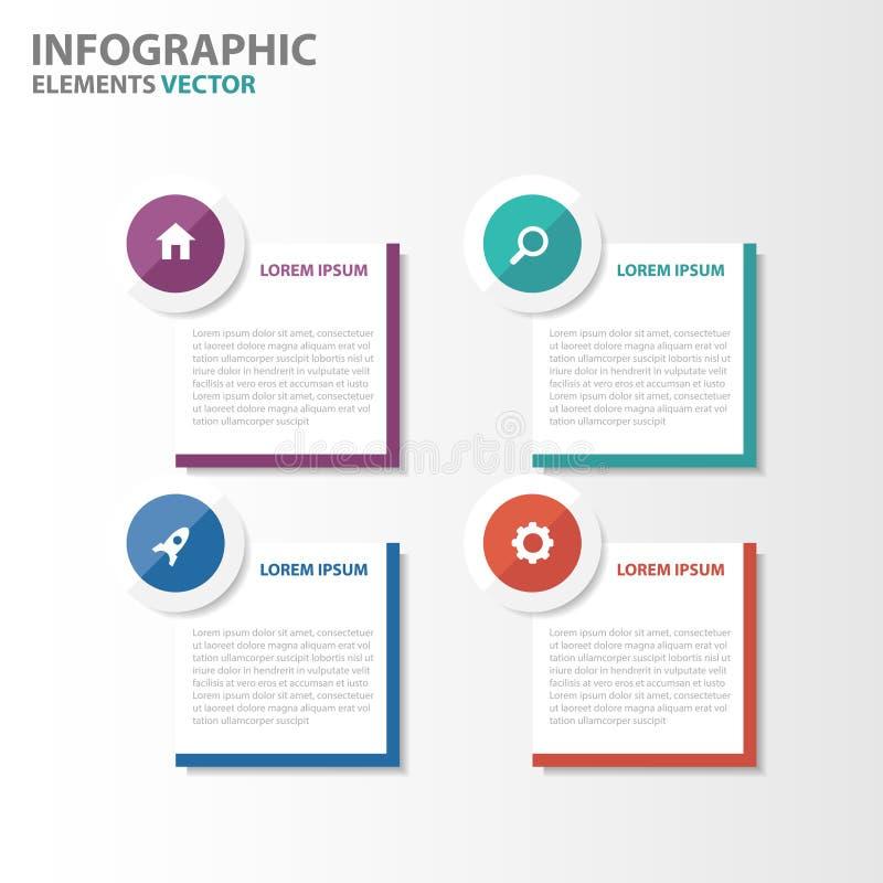 La conception plate de cercle de bannière d'Infographic d'éléments de calibres colorés de présentation a placé pour le marketing  illustration stock
