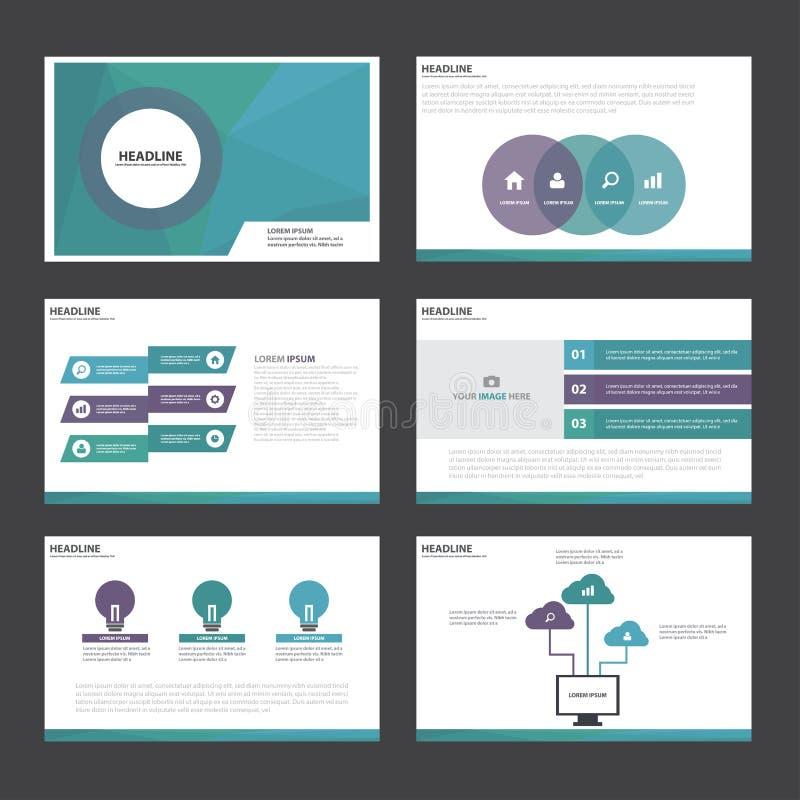 La conception plate de présentation de calibre d'éléments abstraits vert-bleu pourpres d'Infographic a placé pour le marketing de illustration stock