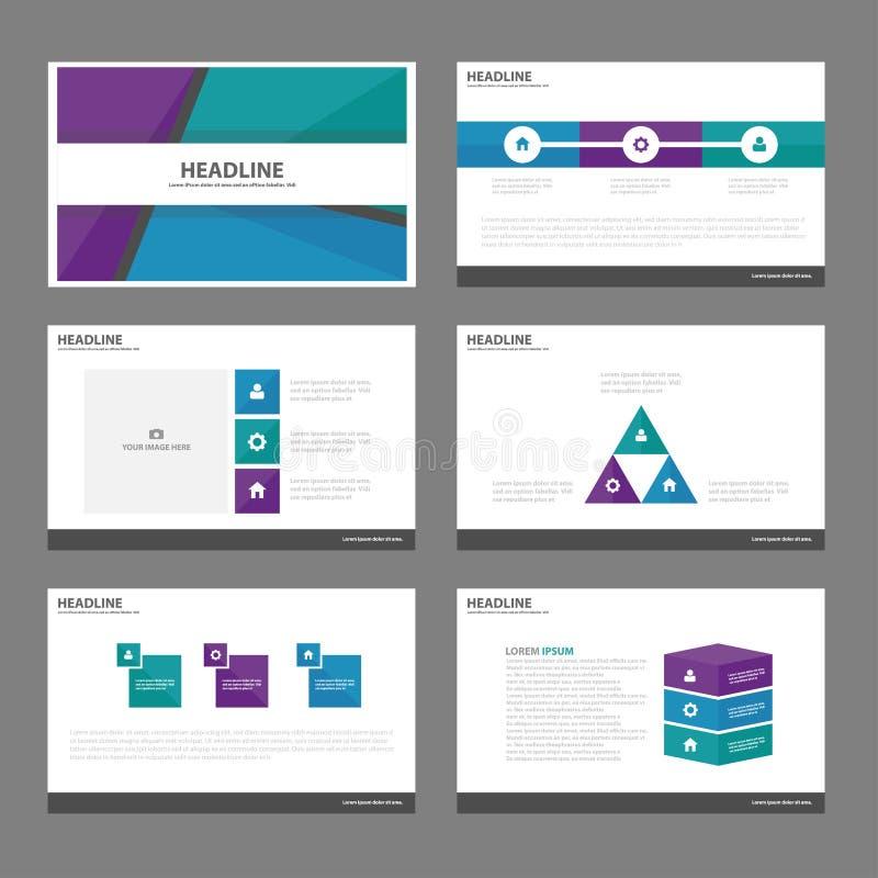 La conception plate de présentation de calibres d'éléments pourpres vert-bleu d'Infographic a placé pour le marketing de tract d' illustration libre de droits