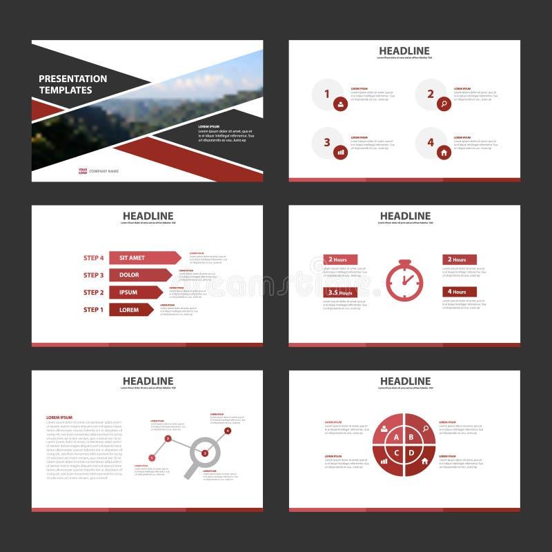 La conception plate de présentation de calibres d'éléments rouges et noirs d'Infographic a placé pour la publicité de vente de tr illustration stock