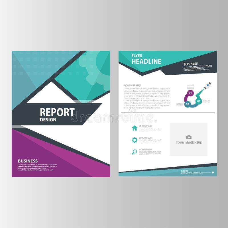 La conception plate de rapport annuel de présentation de calibre d'icône verte pourpre bleue d'éléments a placé pour faire de la  illustration de vecteur