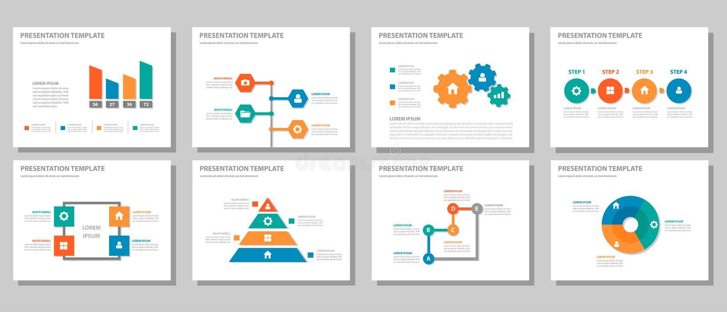 La conception plate infographic universelle orange vert-bleu rouge de présentation et d'élément a placé 2 illustration stock