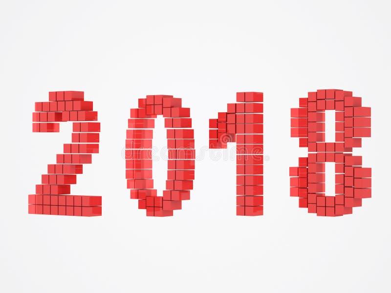 La conception rouge 3d d'année rendent 2018 photographie stock