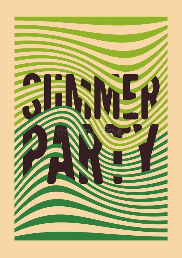 La conception typographique d'affiche de vintage de partie d'été avec les lignes difformes soustraient le fond géométrique Rétro  illustration de vecteur