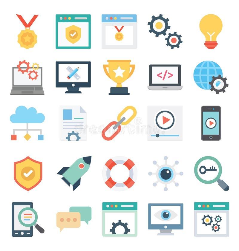 La conception web et le développement ont isolé les icônes de vecteur ont placé qui peuvent être facilement modifiées ou éditer l illustration de vecteur