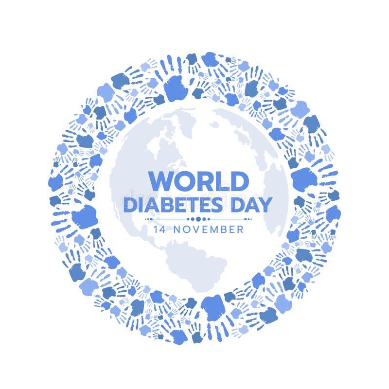 La conciencia del día de la diabetes del mundo con la huella dactilar azul de las manos hace que el círculo la muestra vector dis stock de ilustración