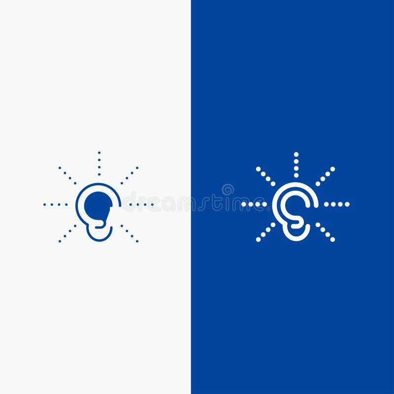 La conciencia, oído, oye, audiencia, escucha bandera azul de bandera del icono sólido de la línea y del Glyph del icono sólido az ilustración del vector