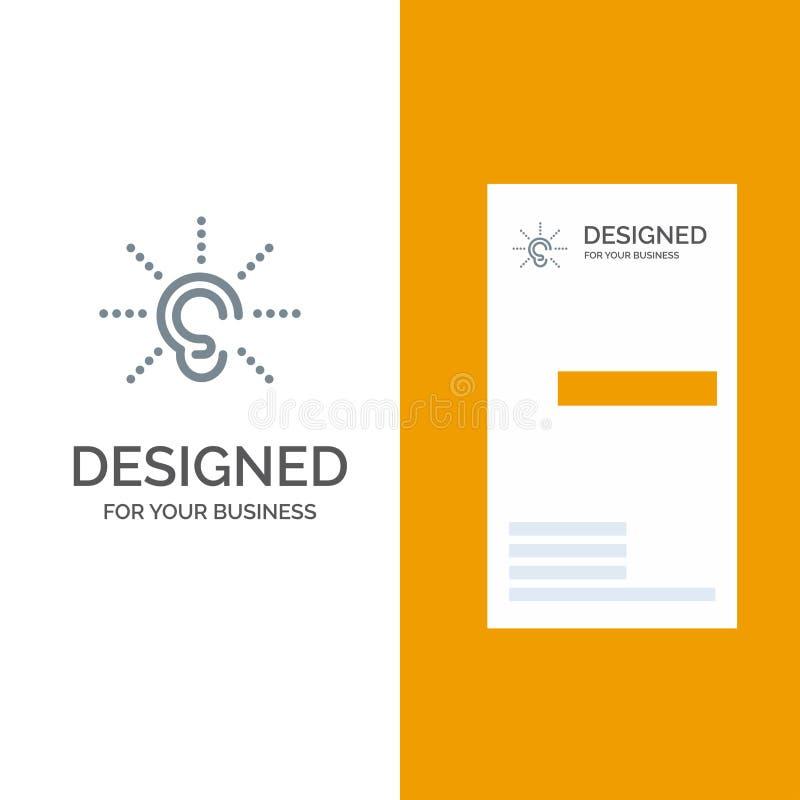La conciencia, oído, oye, audiencia, escucha Grey Logo Design y plantilla de la tarjeta de visita stock de ilustración