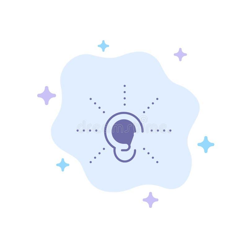 La conciencia, oído, oye, audiencia, escucha icono azul en fondo abstracto de la nube libre illustration