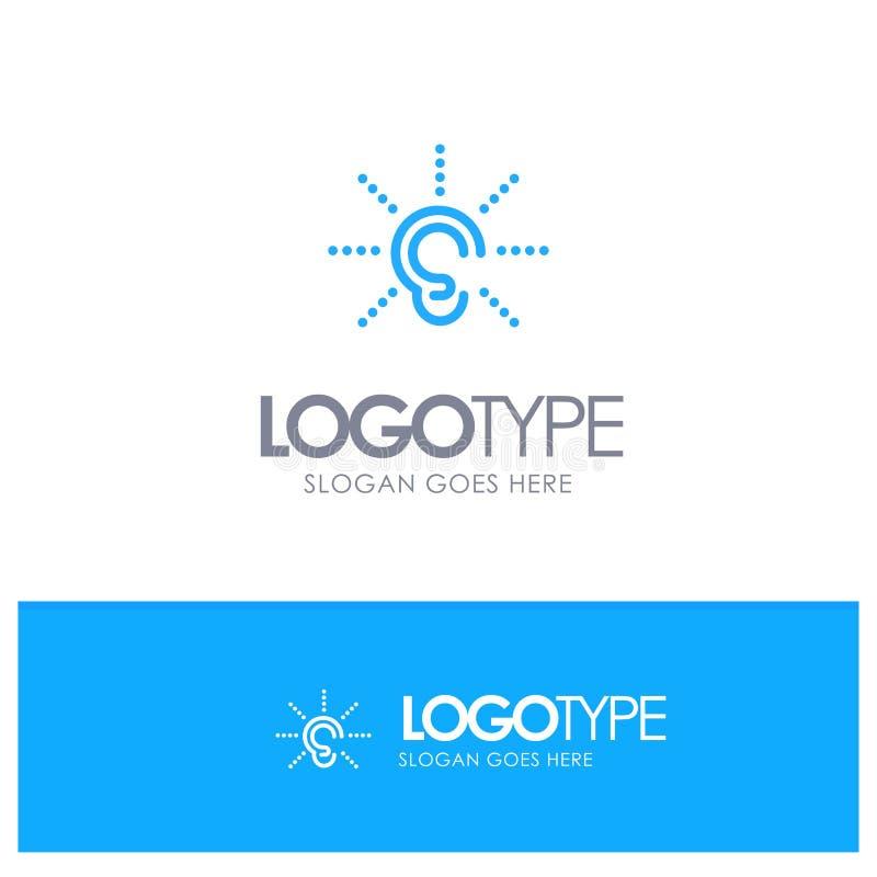 La conciencia, oído, oye, audiencia, escucha logotipo azul del esquema con el lugar tagline stock de ilustración