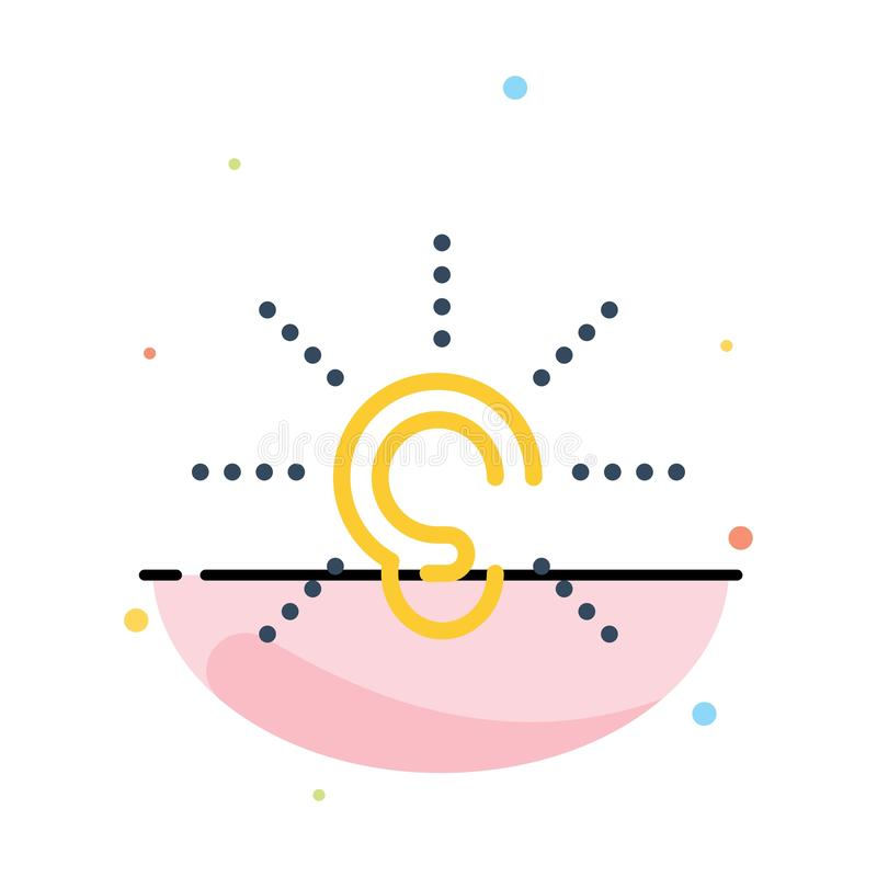 La conciencia, oído, oye, audiencia, escucha plantilla plana abstracta del icono del color ilustración del vector