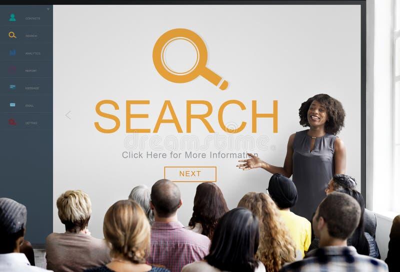 La conclusion de agrandissement d'exploration de recherche passent en revue le concept images libres de droits