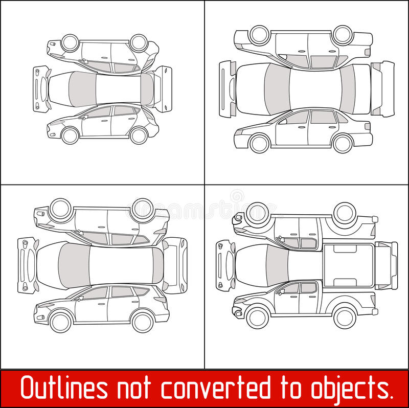 La condición y la inspección de control del vehículo de la recogida del suv de la ventana trasera del sedán del coche forman ilustración del vector