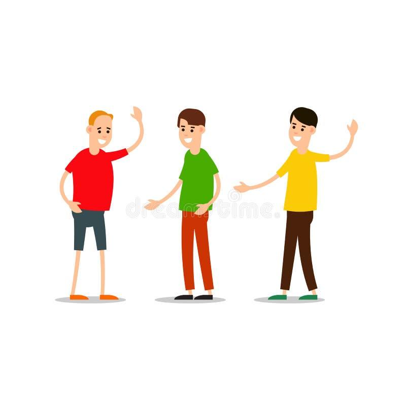 La condizione del giovane e si accoglie Gruppo di giovani illustrazione di stock