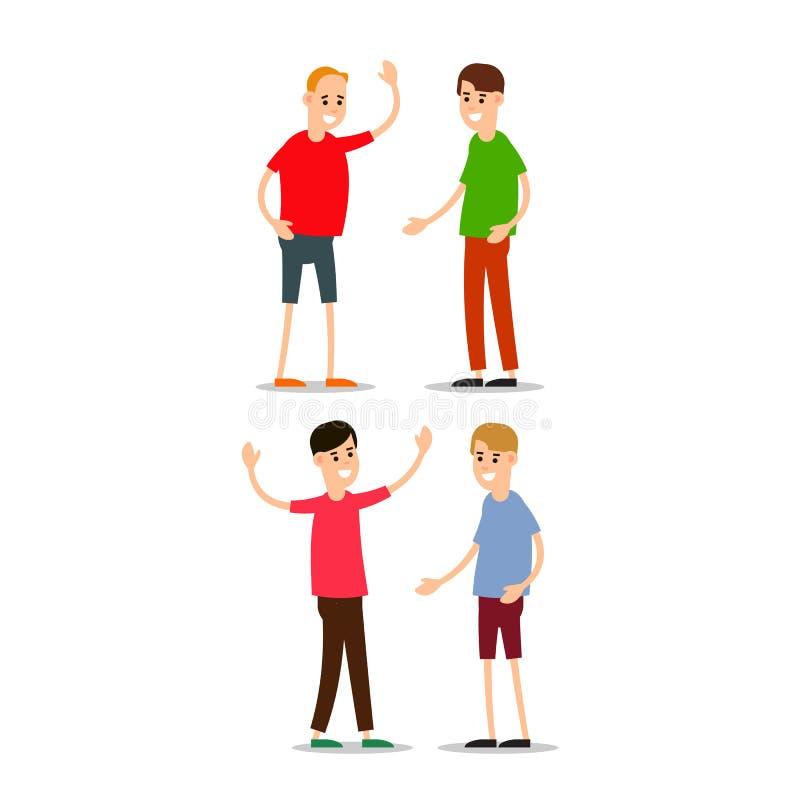 La condizione del giovane e si accoglie Gruppo di giovani illustrazione vettoriale