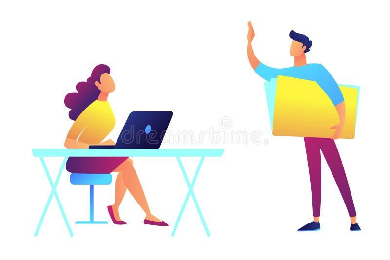 La condizione dell'insegnante ed indicare e lo studente che si siedono agli scrittori vector l'illustrazione illustrazione di stock