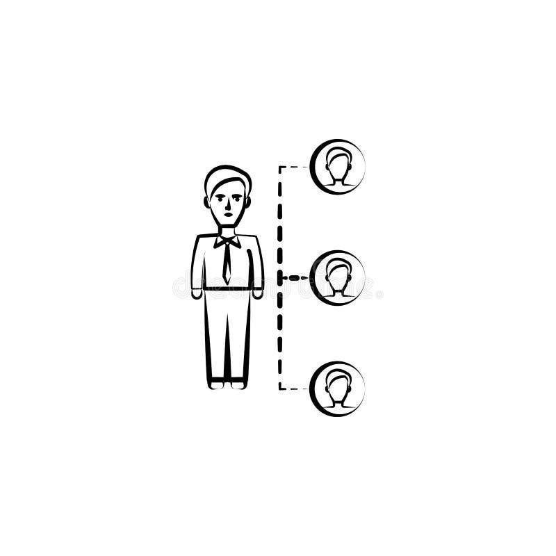 la conexión, amigos da el icono exhausto Diseño del símbolo del esquema del sistema del negocio stock de ilustración
