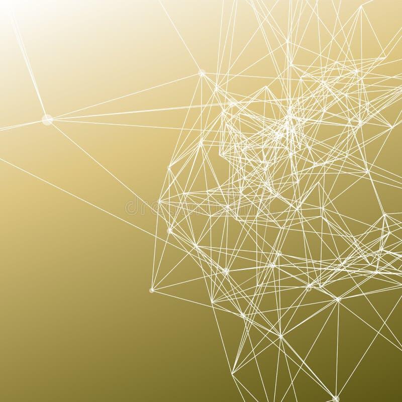 La conexión blanca puntea con las líneas en pendiente de color caqui de moda del color ilustración del vector