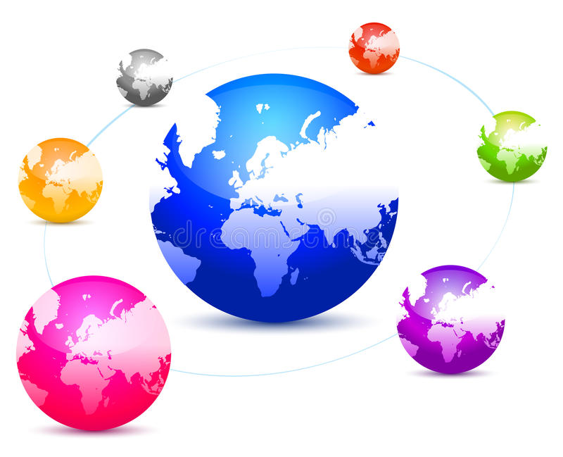 La conexión de globos coloridos stock de ilustración