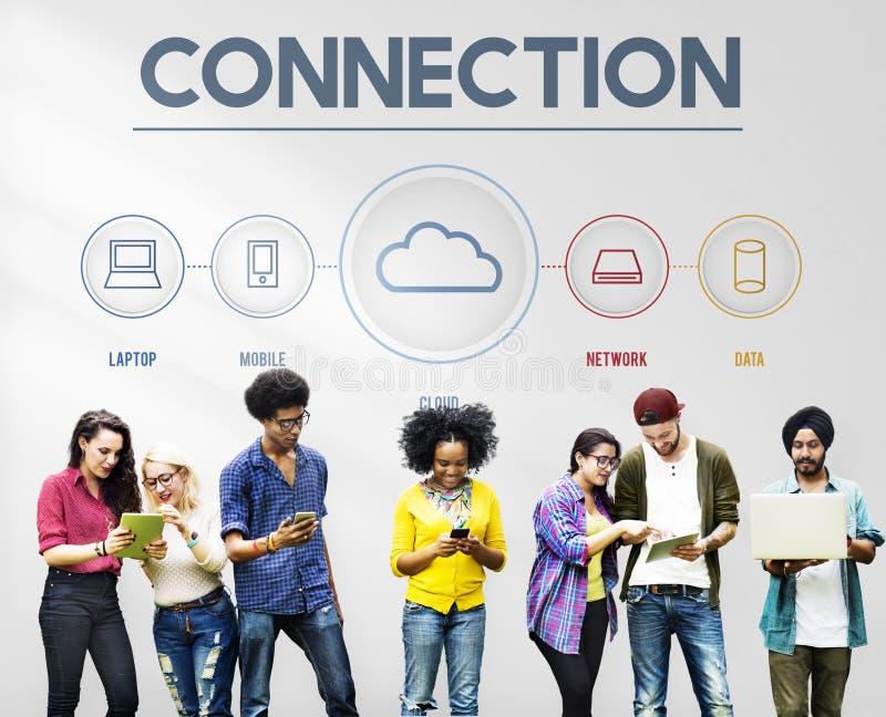 La conexión de la comunicación del establecimiento de una red comparte concepto de las ideas foto de archivo libre de regalías