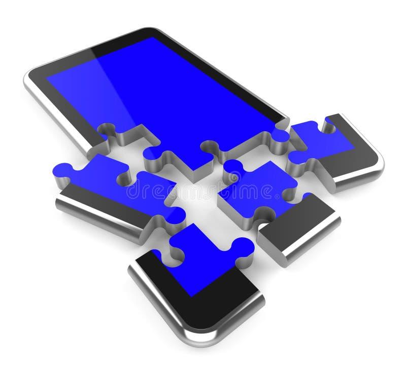 La conexión del teléfono representa el servidor y la comunicación de red stock de ilustración