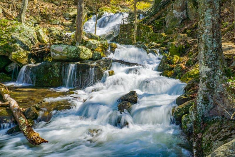 La conexión en cascada de las cascadas de Crabtree baja en Ridge Mountains azul de Virginia, los E.E.U.U. imagen de archivo libre de regalías