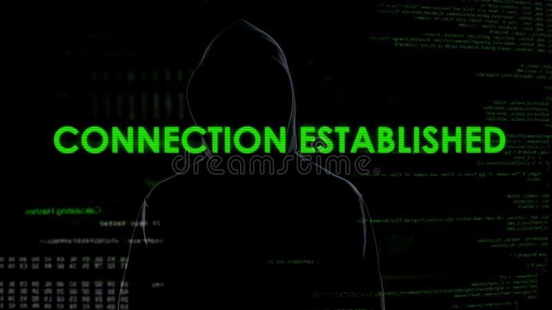 La conexión establecida, cyberattack anónimo amenaza a seguridad nacional fotos de archivo libres de regalías