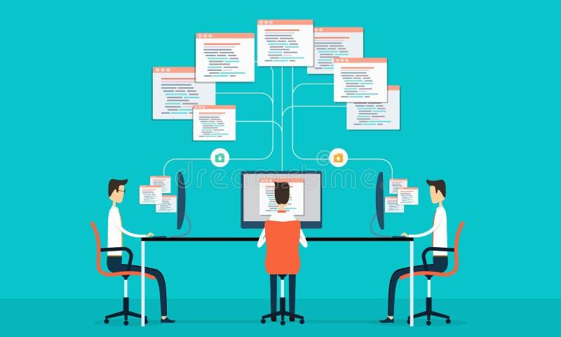 La conexión programada del grupo desarrolla el siet y el uso del web libre illustration