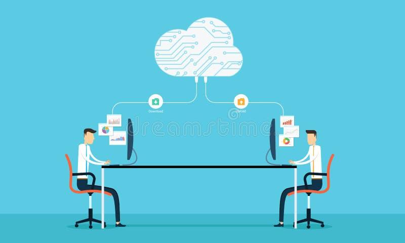 La conexión programada desarrolla el siet y el uso del web en la nube stock de ilustración