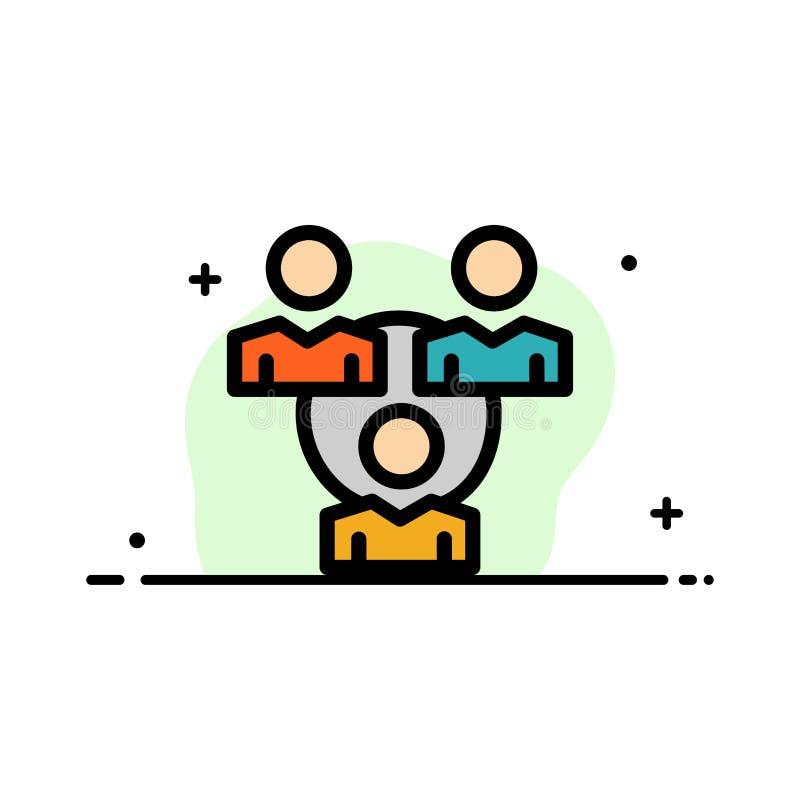 La conexión, reunión, oficina, línea plana del negocio de la comunicación llenó la plantilla de la bandera del vector del icono stock de ilustración