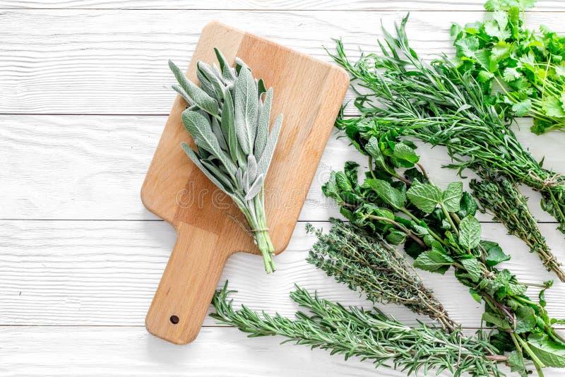 La configuration plate avec les herbes et la verdure fraîches pour sécher et faire des épices a placé sur le fond en bois blanc d image stock