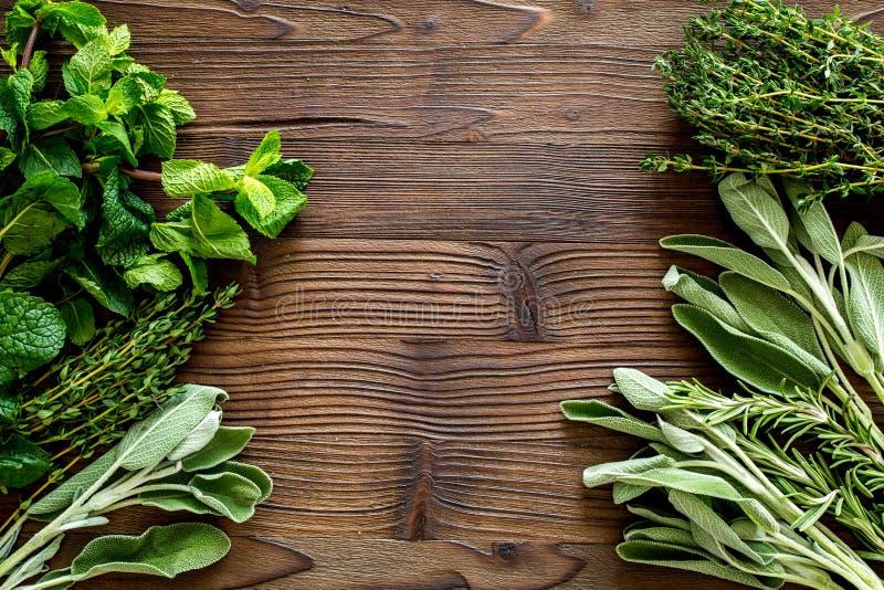 La configuration plate avec les herbes et la verdure fraîches pour sécher et faire des épices a placé sur la maquette en bois de  image libre de droits