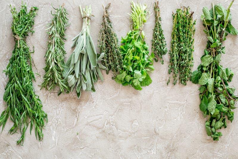 La configuration plate avec les herbes et la verdure fraîches pour sécher et faire des épices a placé sur la maquette en pierre d photographie stock
