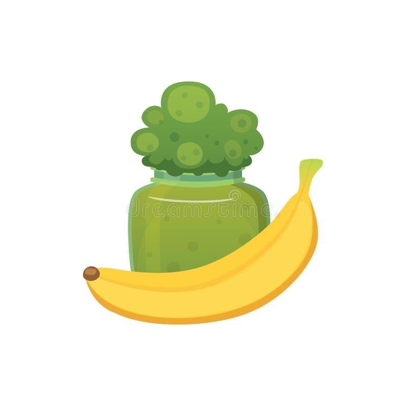 La confiture et le smoothie organiques de brocoli de fruit avec la banane dirigent l'illustration illustration libre de droits