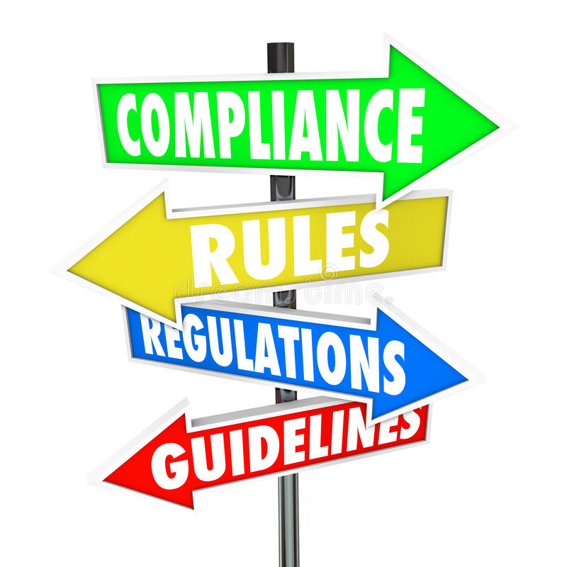La conformidad gobierna muestras de la flecha de las instrucciones de las regulaciones libre illustration