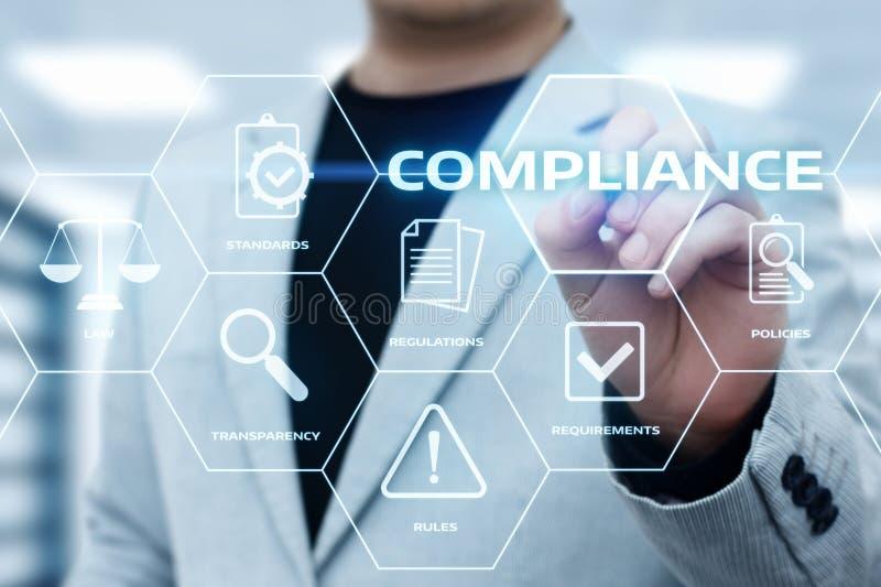 La conformità governa il concetto della tecnologia di affari della politica di regolamento di legge immagini stock