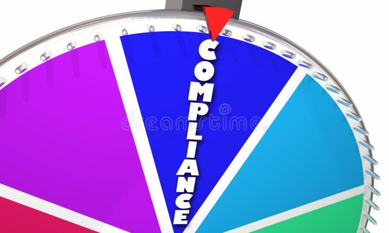 La conformità governa la ruota di filatura del gioco teletrasmesso illustrazione di stock