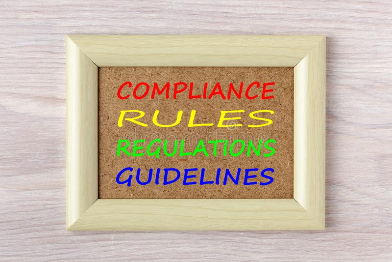 La conformité ordonne le concept de directives de règlements photographie stock libre de droits