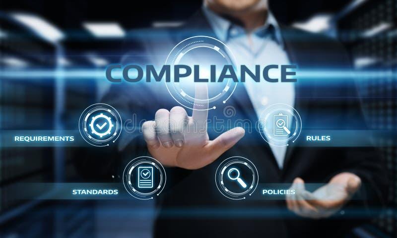 La conformité ordonne le concept réglementaire de technologie d'affaires de politique de loi images libres de droits