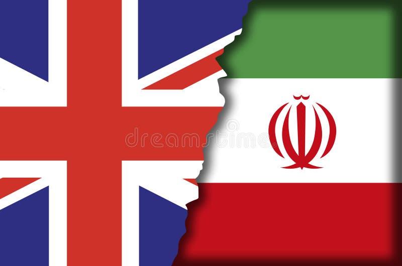 La confrontation du R-U Iran a symbolisé avec les anglais et iranien les drapeaux déchirés pour se recouvrir illustration stock