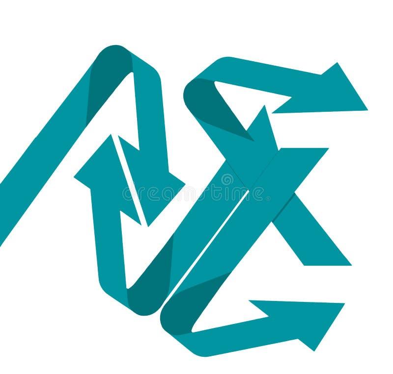 La confusión y el caos es un tema ilustrado por cuatro flechas que doblan en diversas direcciones en esta imagen de fondo stock de ilustración