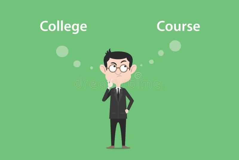 La confusione per prendere una decisione per andare all'istituto universitario o l'illustrazione di corso con una bolla bianca ma royalty illustrazione gratis