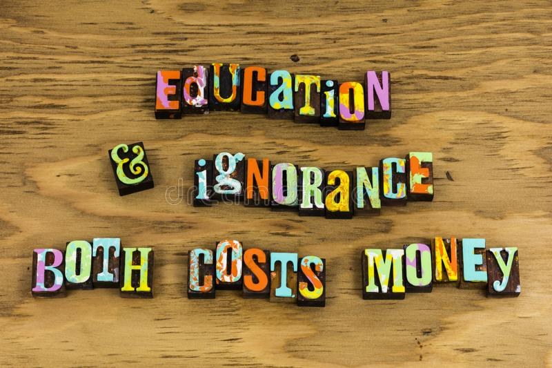 La connaissance de sagesse de préjudice d'ignorance d'éducation photographie stock