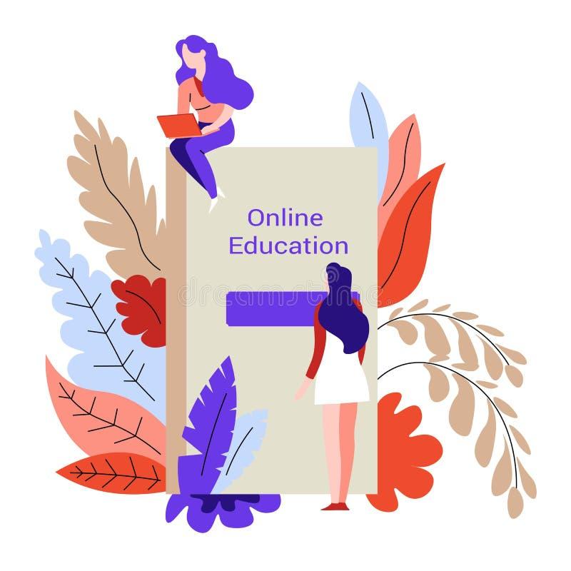 La connaissance en ligne d'étudiantes et de livre ou de manuel d'éducation illustration de vecteur