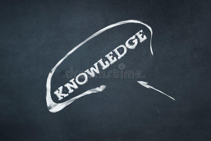La connaissance, inscription dans la craie sur un conseil bleu Concept d'éducation Business images stock