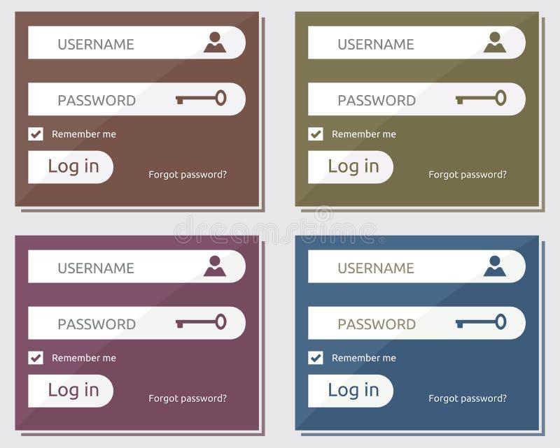 La connessione e firma sull'interfaccia utente illustrazione di stock