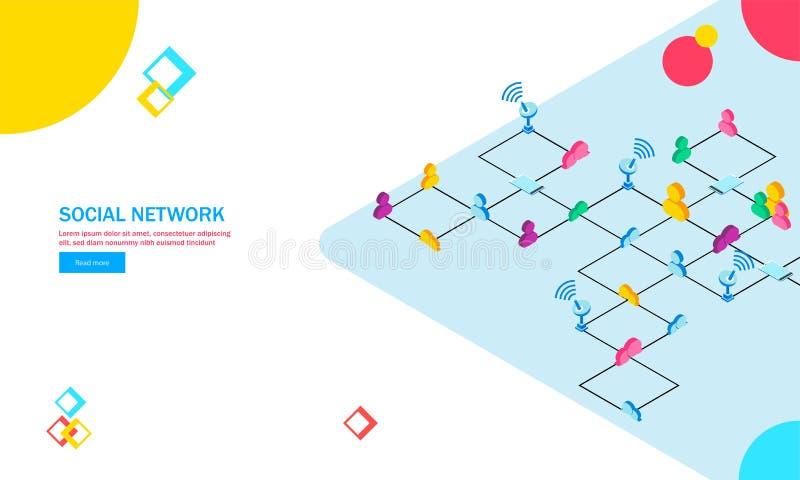 La connettività senza fili, utente multiplo si è collegata attraverso Internet illustrazione vettoriale